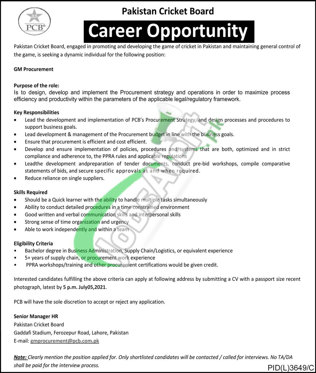 Pakistan Cricket Board Jobs