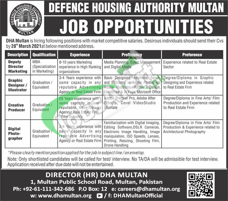 Defence Housing Authority DHA MultanJobs