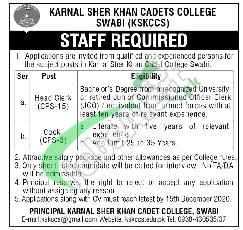 Cadet College Swabi Jobs