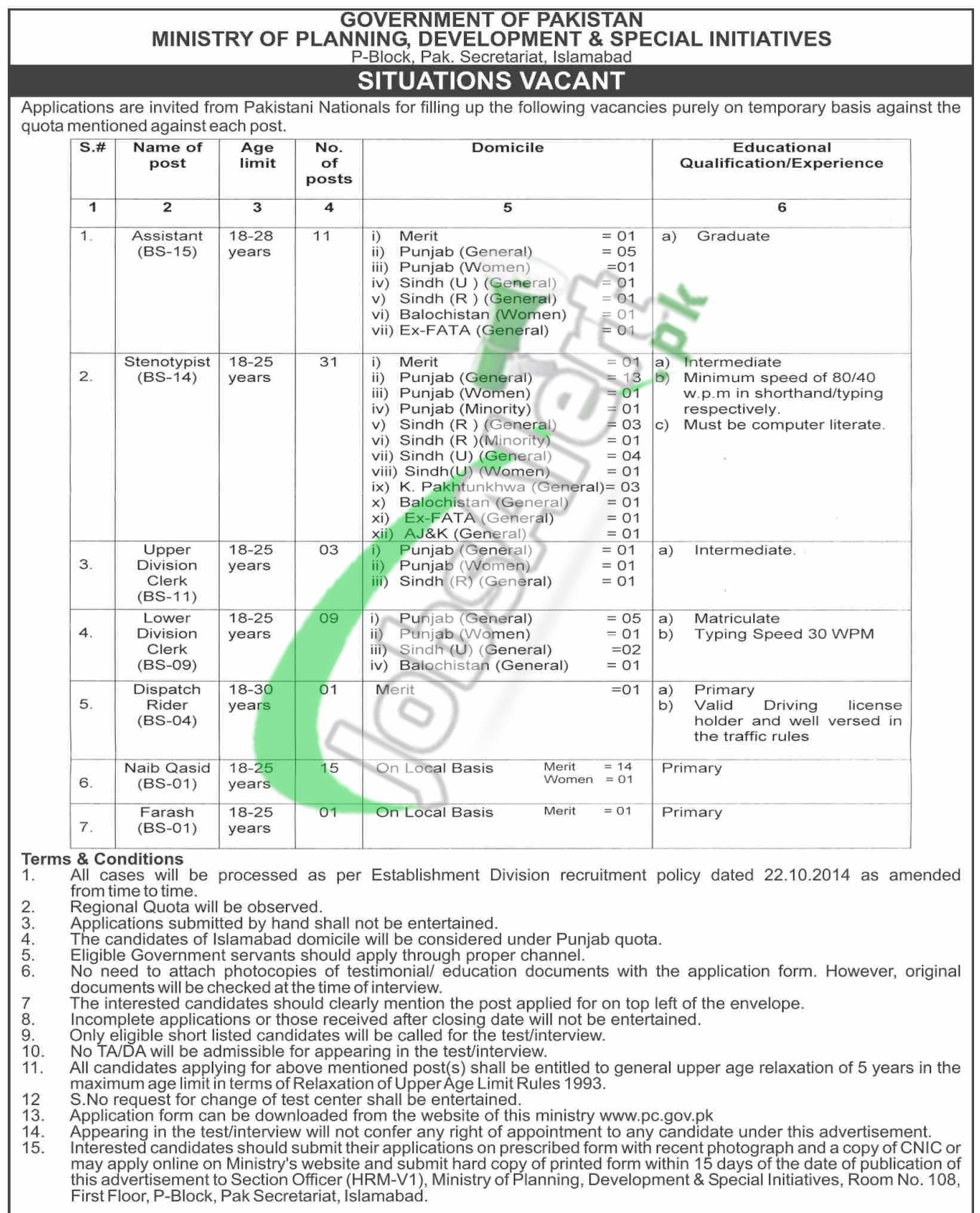 Ministry of Planning Development and Special Initiatives Jobs