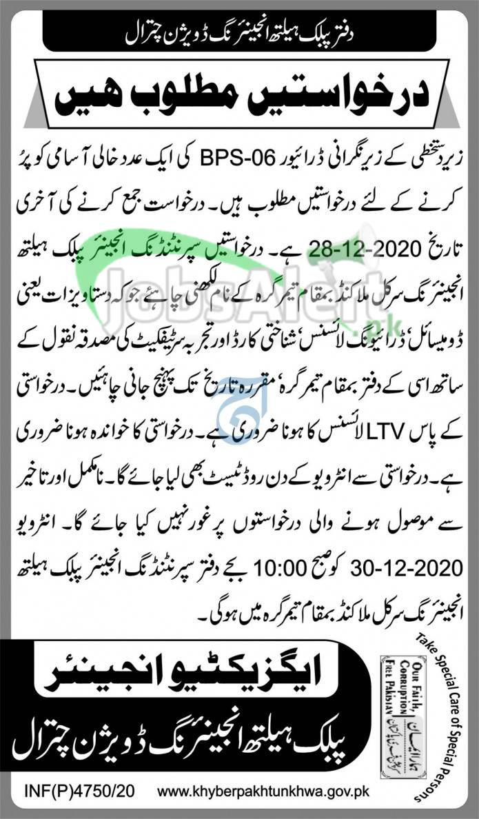 PHED Chitral Jobs