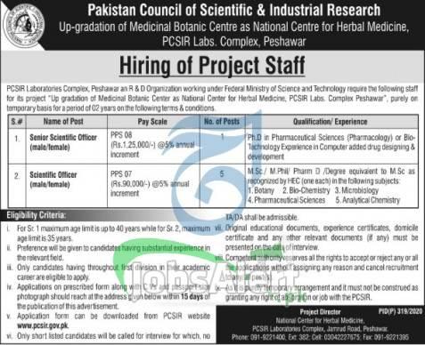 PCSIR Peshawar Jobs