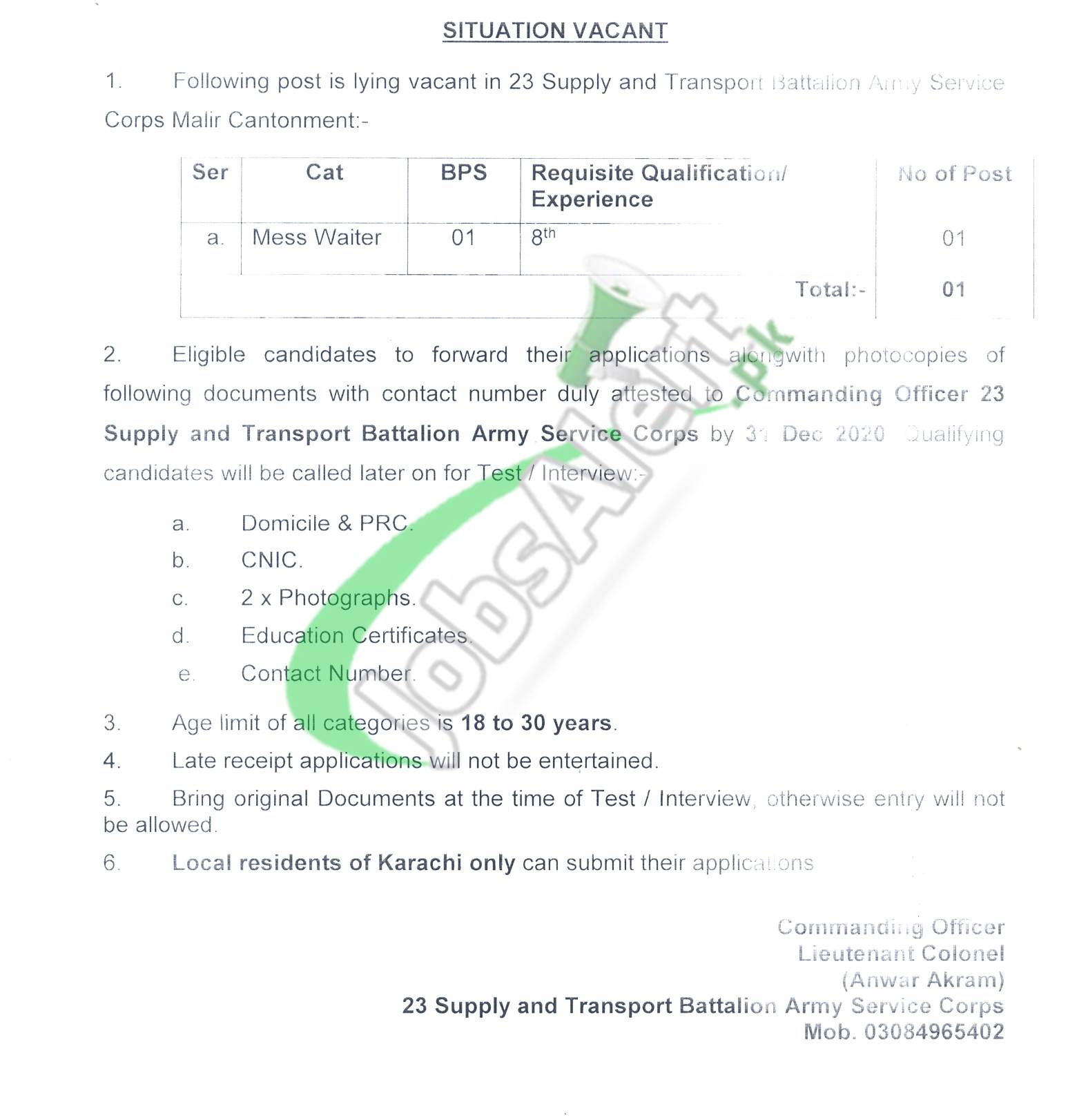Jobs in 23 Supply and Transport Battalion ASC Malir 2020