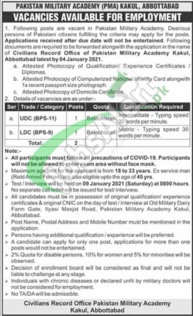Pakistan Military Academy PMA Kakul Jobs