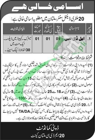 20 Military Dental Center Multan Jobs