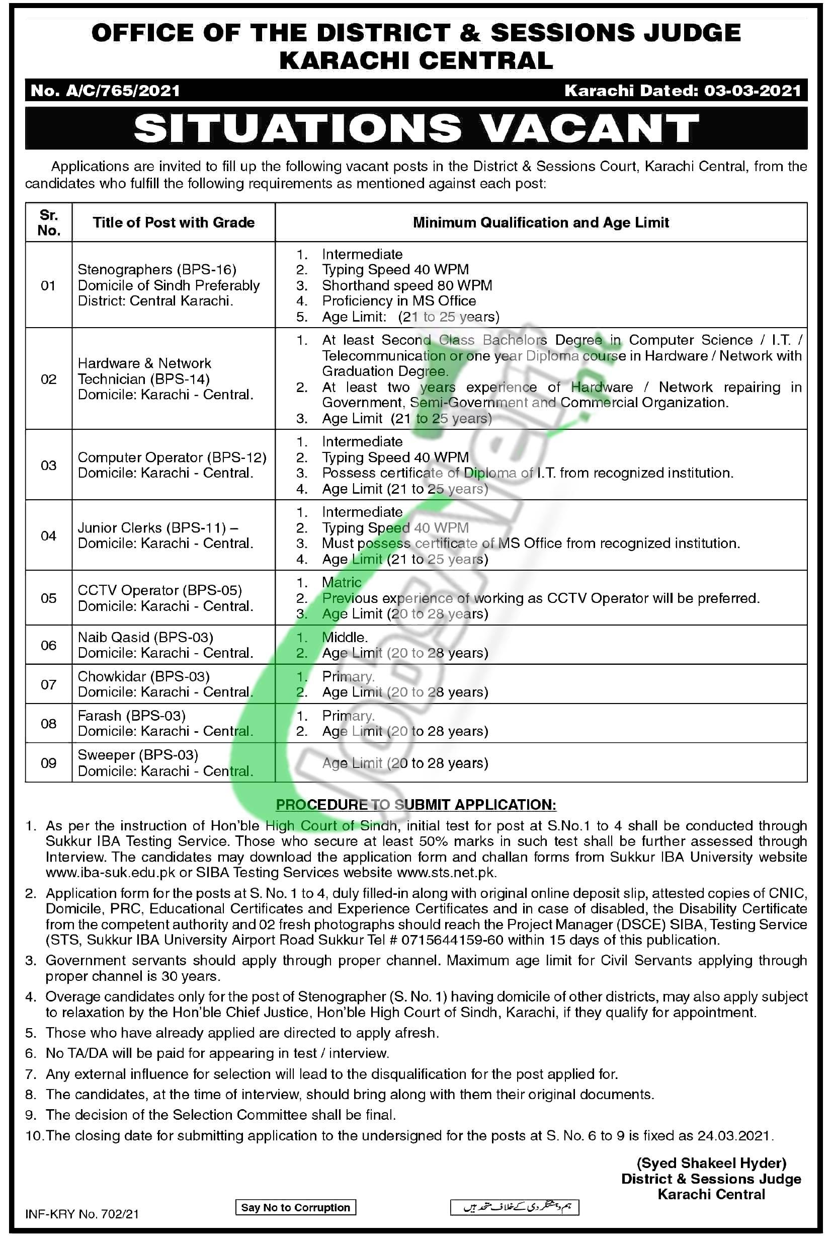 Session Court Karachi Central Jobs