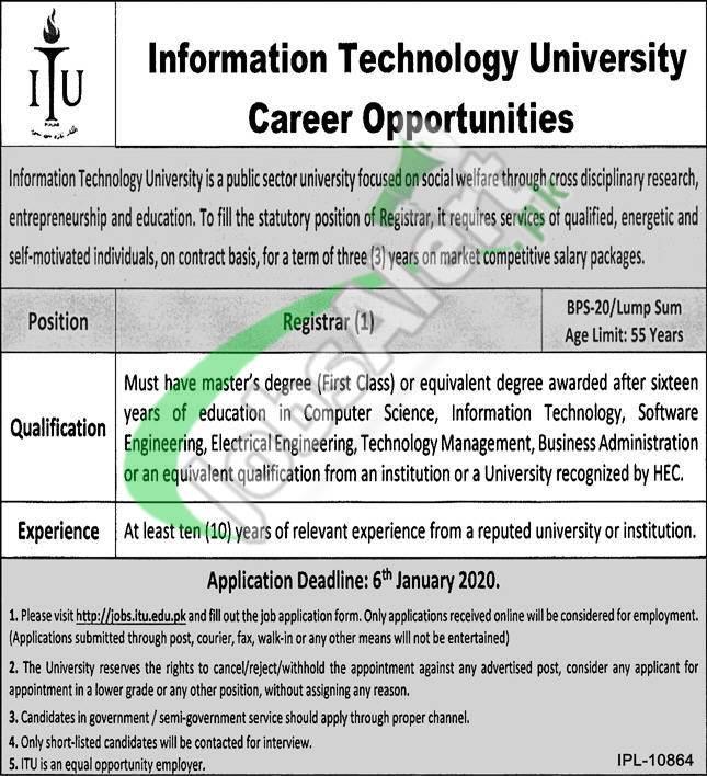 Information Technology University Jobs 2021