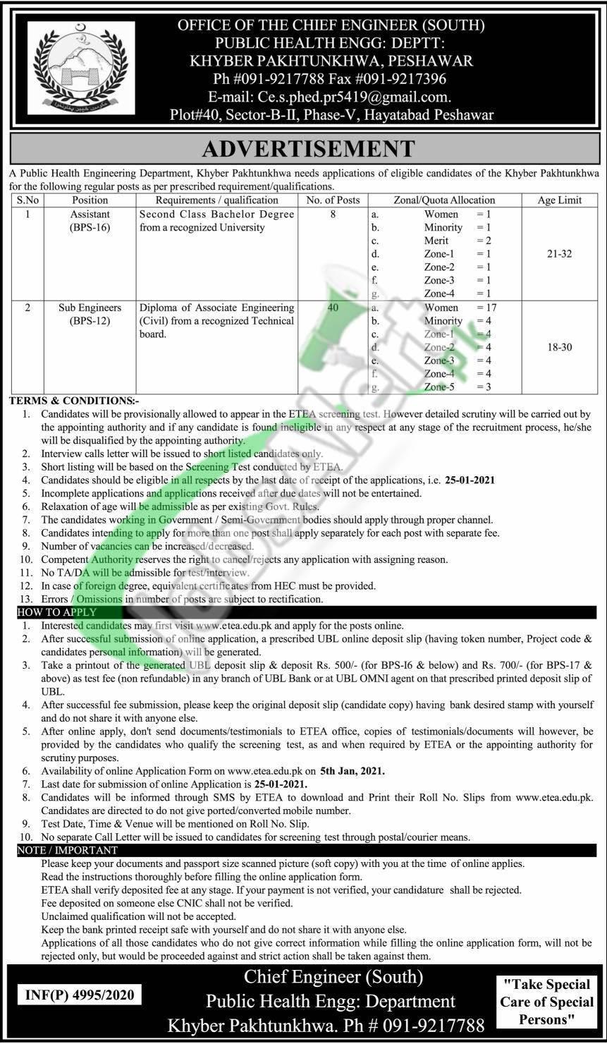 Public Health Engineering Department KPK Jobs