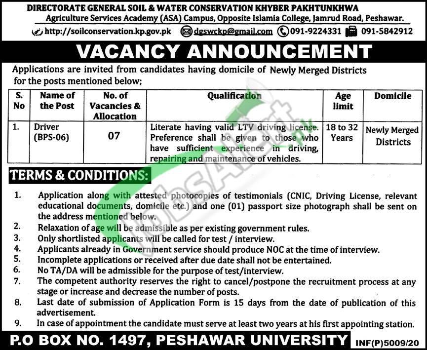 PO Box 1497 Peshawar Jobs