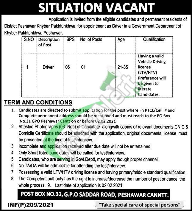 PO Box 31 Peshawar Jobs
