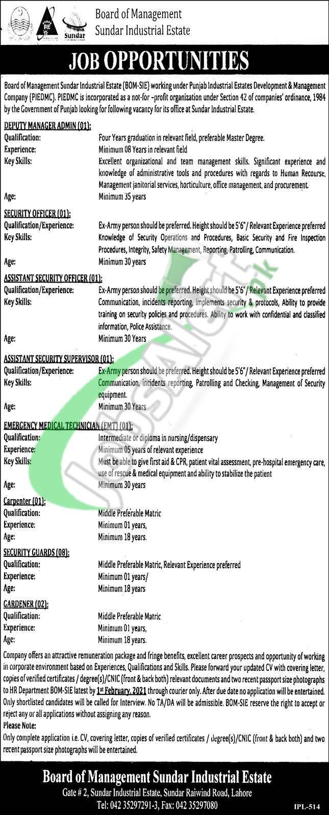 Board of Management Sundar Industrial Estate Jobs