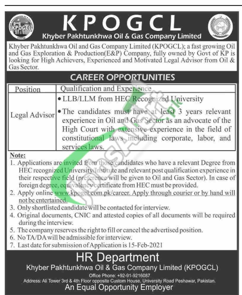 www.kpogcl.com.pk Jobs