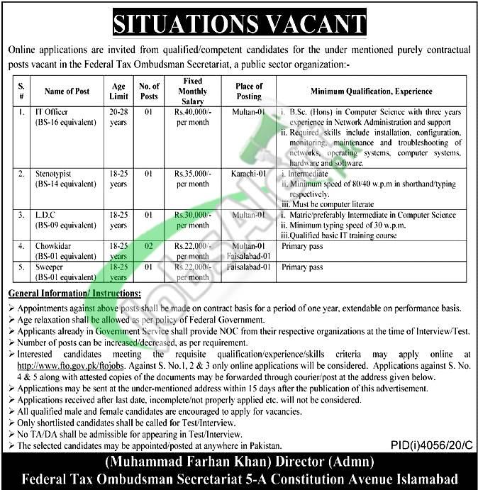 Federal Tax Ombudsman Secretariat Jobs
