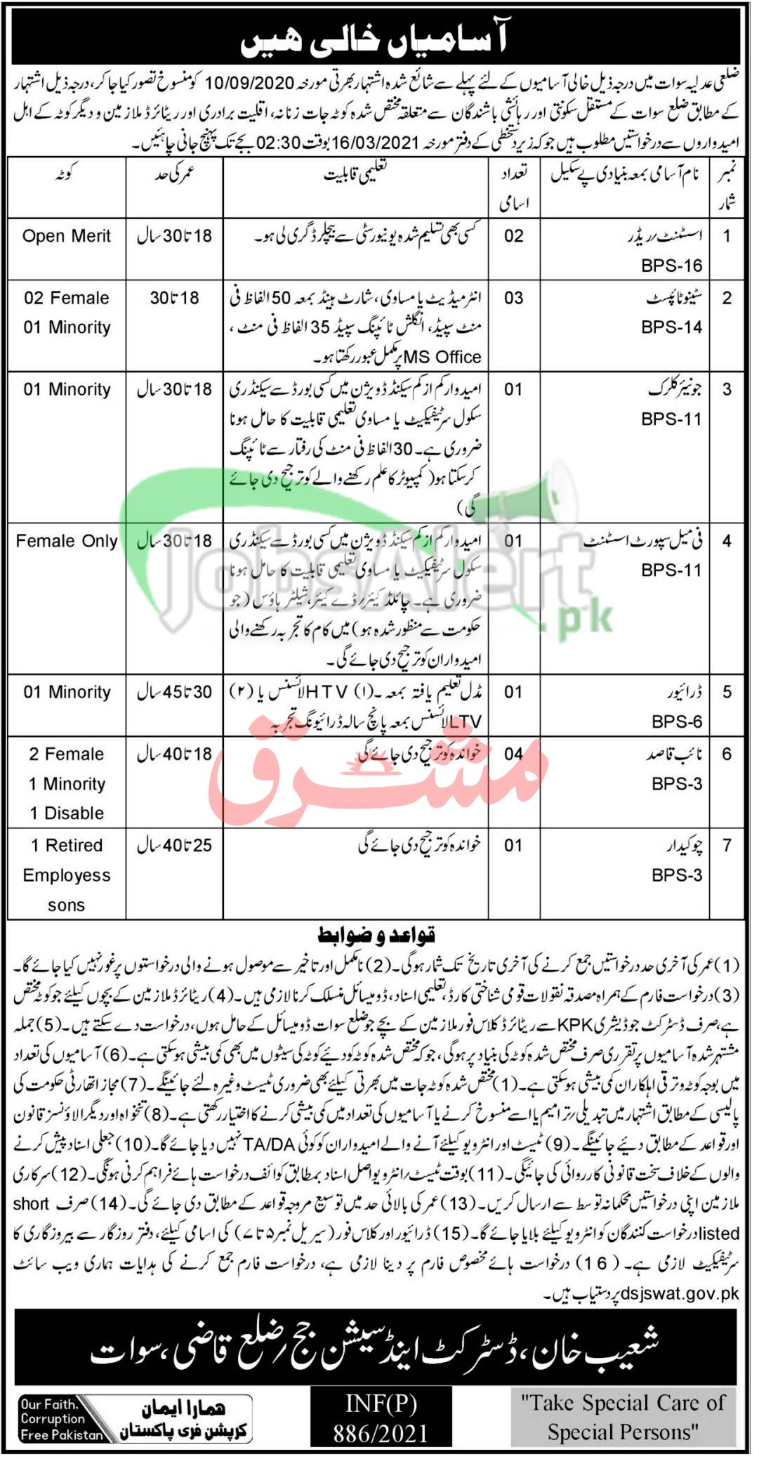 District and Session Court Zilla Qazi Swat Jobs