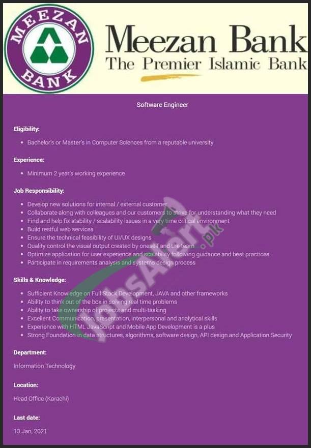 Jobs in Meezan Bank 2021
