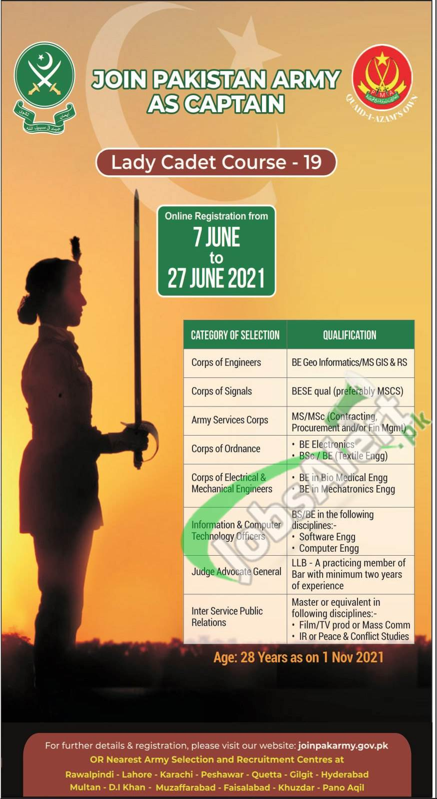 Join Pakistan Army through Lady Cadet Course