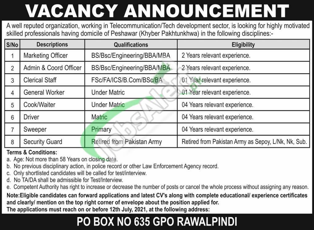 PO Box 635 GPO Rawalpindi Jobs