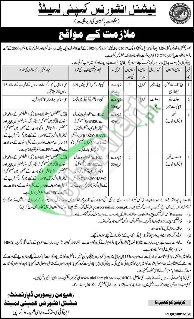 NICL Pakistan Jobs