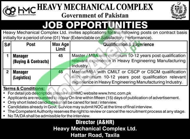 Heavy Mechanical Complex HMC Taxila Jobs