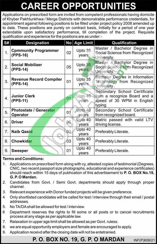 PO Box 19 Mardan Jobs