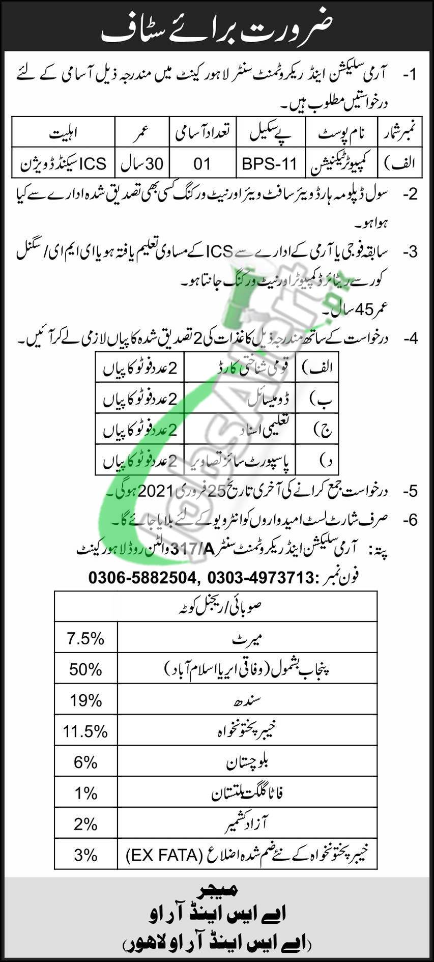Army Selection and Recruitment Centre Lahore Jobs