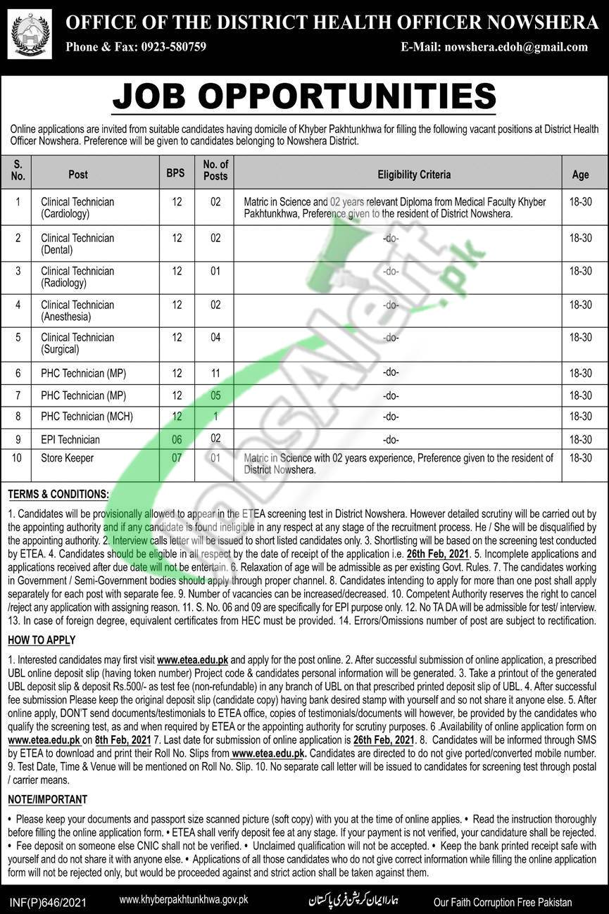 District Health Officer Nowshera Jobs