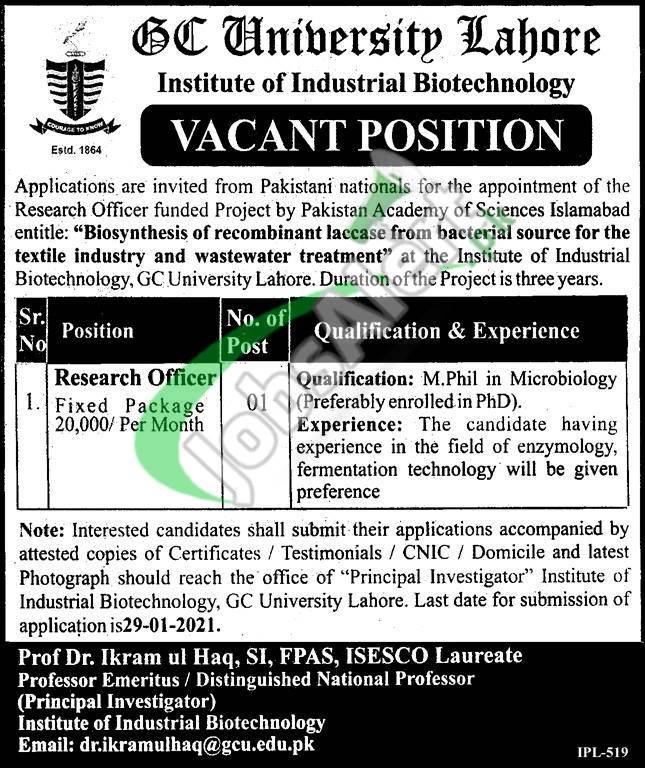 GC University Lahore Jobs