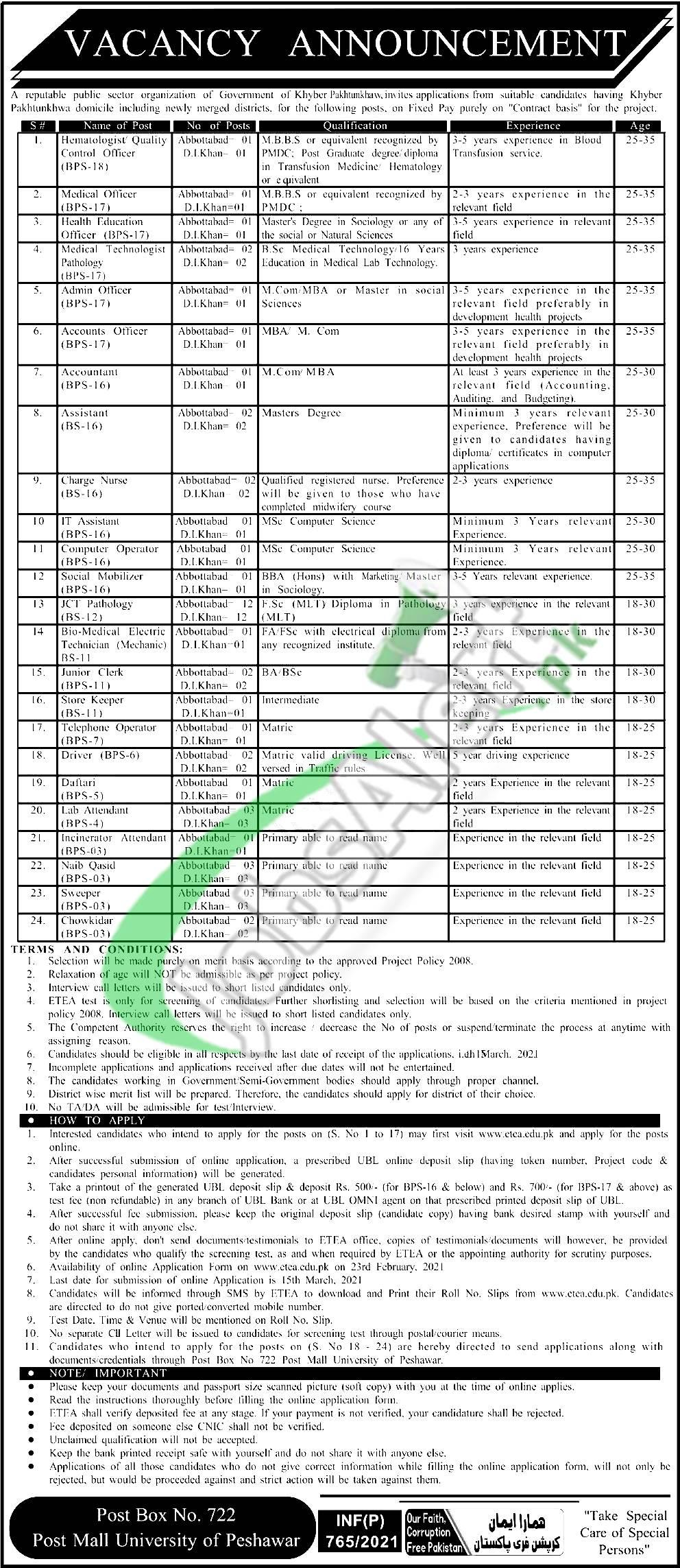 PO Box 722 Peshawar Jobs