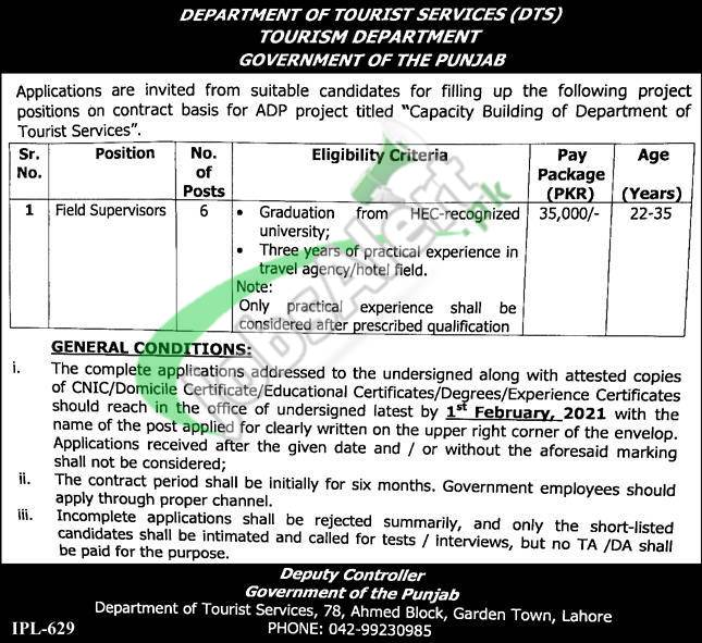 Tourism Department Punjab Jobs 2021