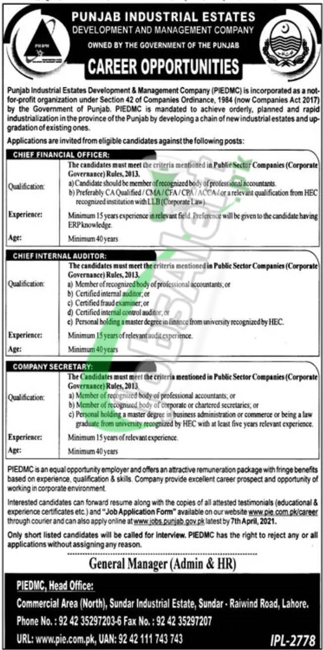 Punjab Industrial Estate Development and Management Company Jobs