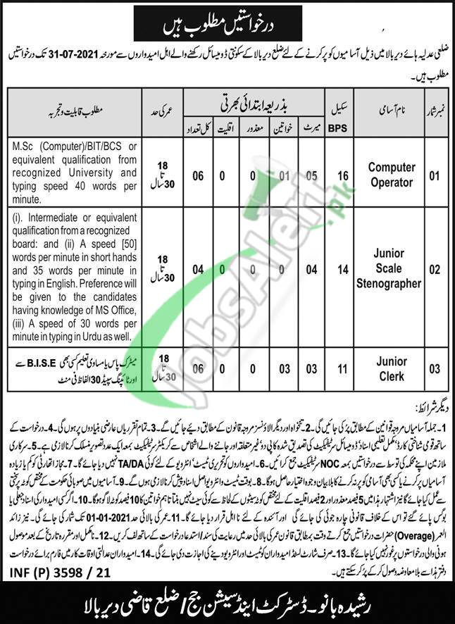 District and Session Court Dir Upper Jobs
