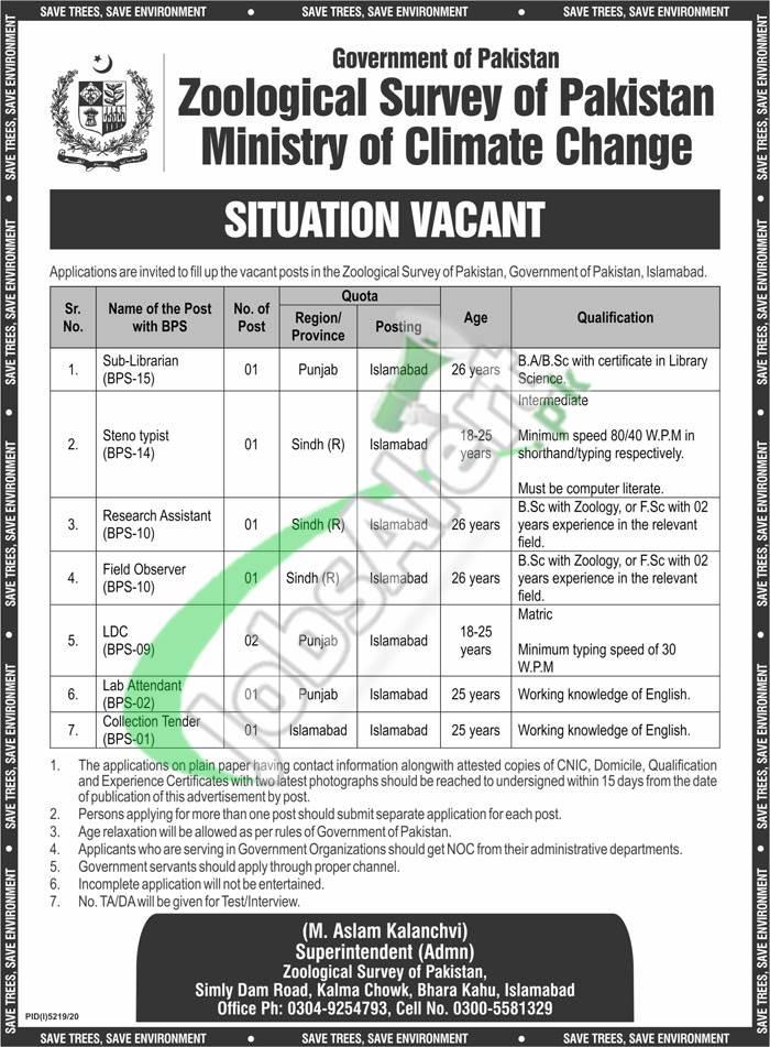 Zoological Survey of Pakistan Jobs