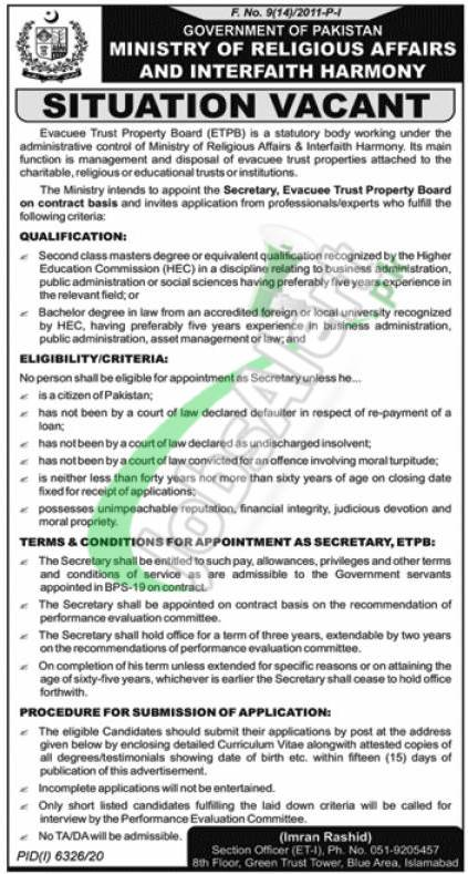 Ministry of Religious Affairs Jobs 2021