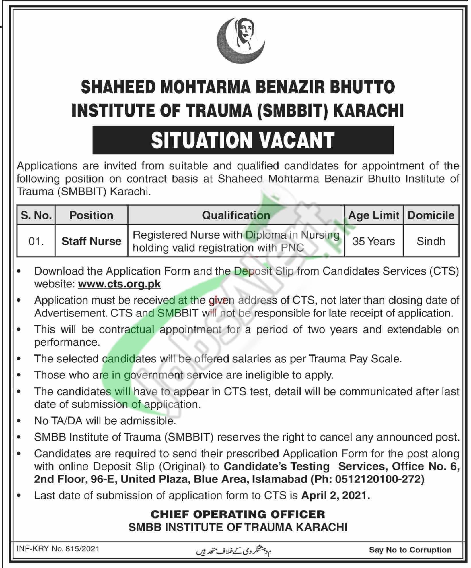 Shaheed Mohtarma Benazir Bhutto Trauma Centre Jobs
