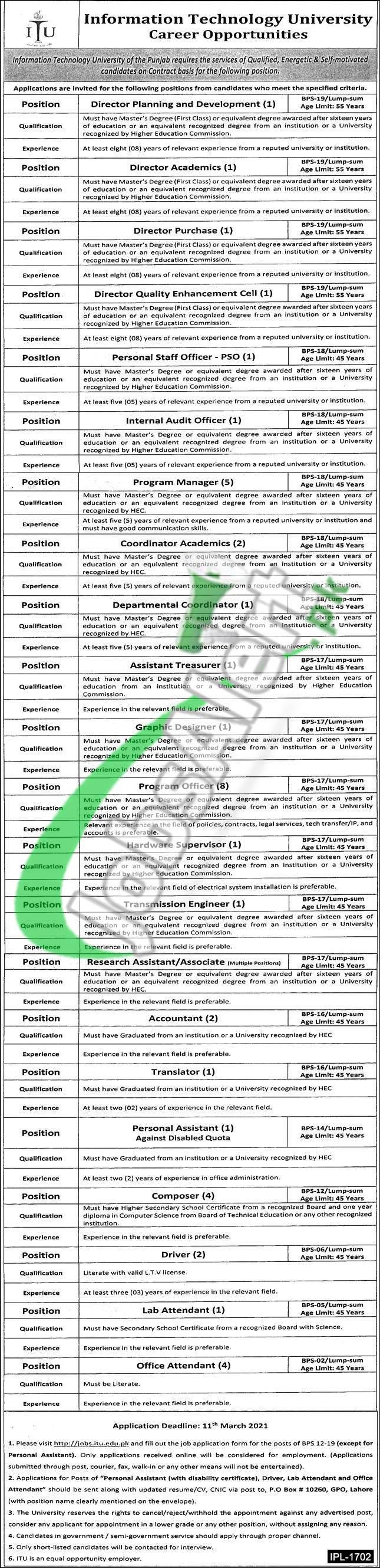 Jobs in ITU Lahore