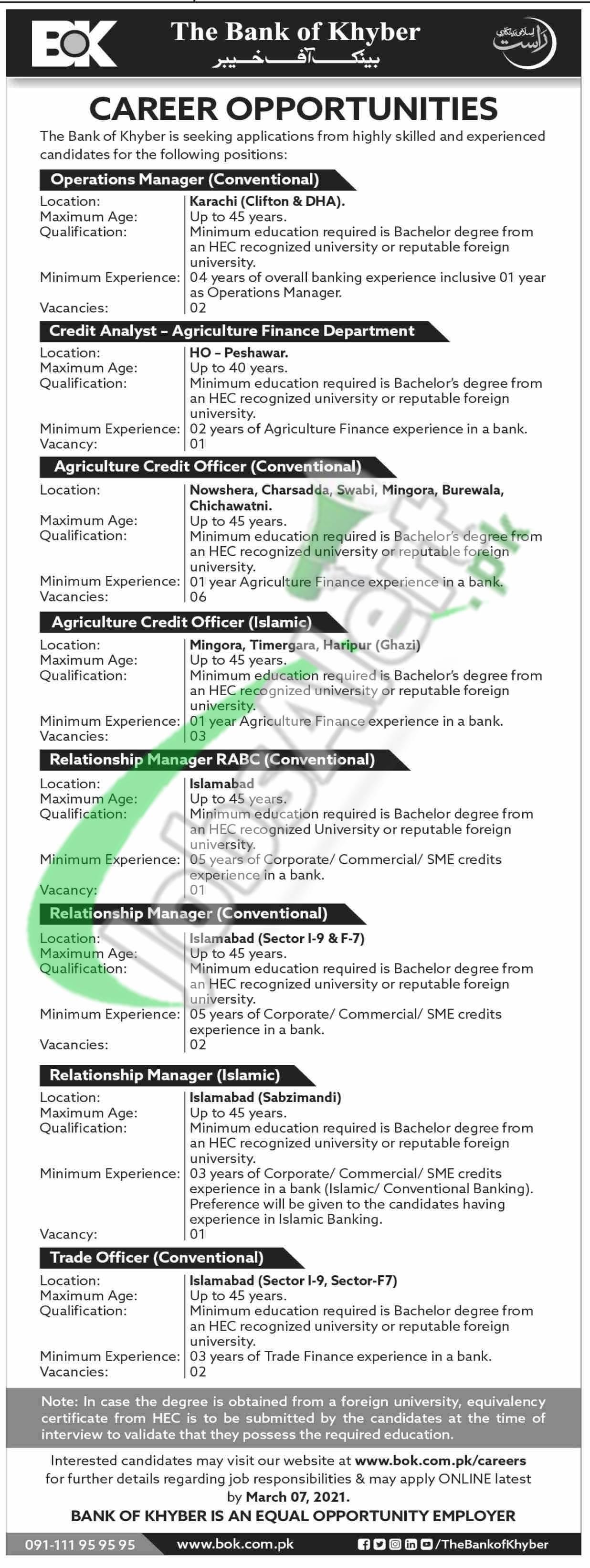 www.bok.com.pk Jobs