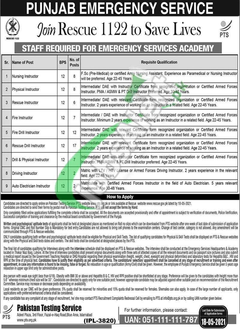 Rescue 1122 Punjab Jobs