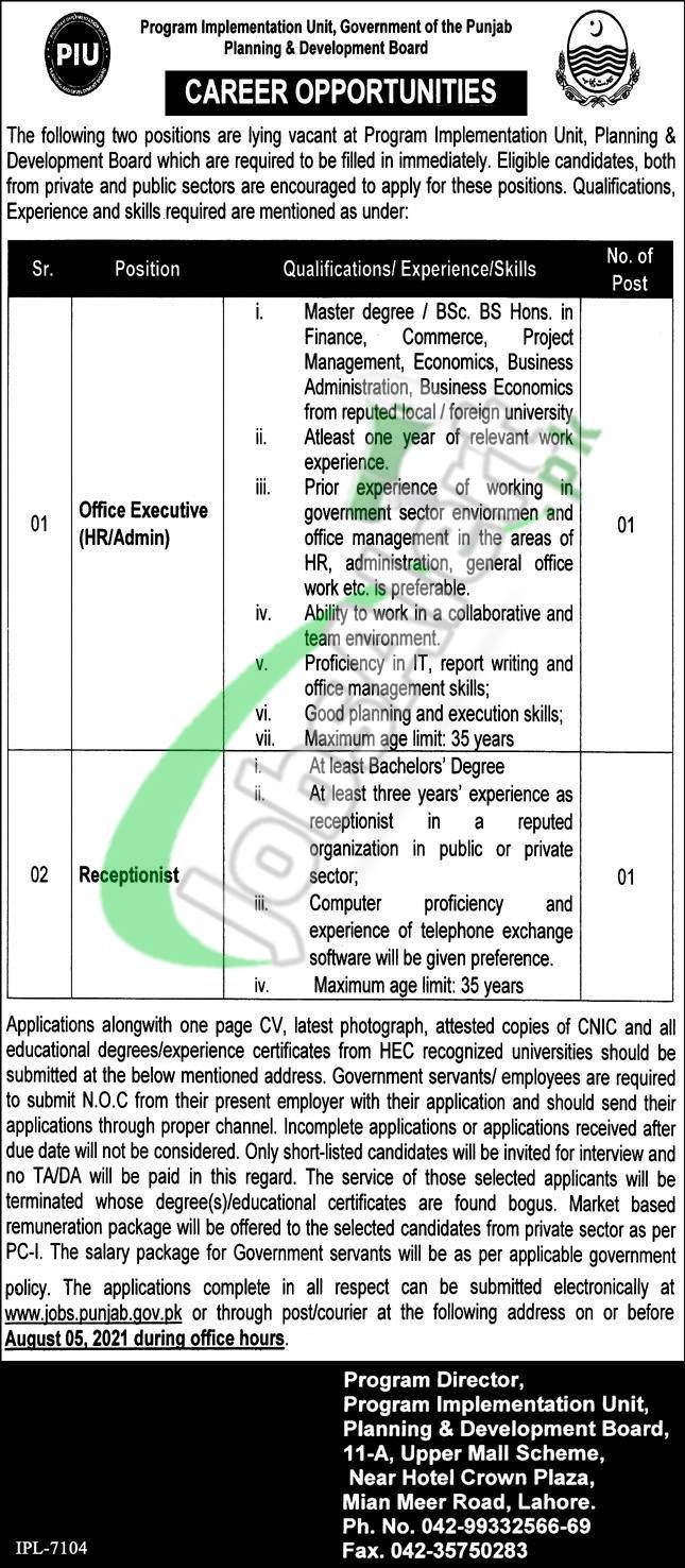 Planning and Development Board Punjab Jobs