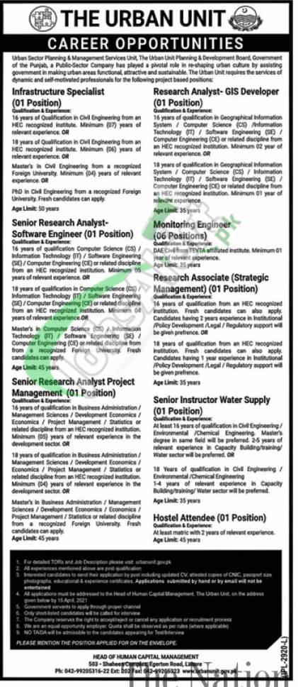 The Urban Unit Punjab Jobs