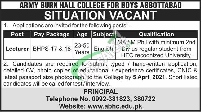 Army Burn Hall College Abbottabad Jobs 2021