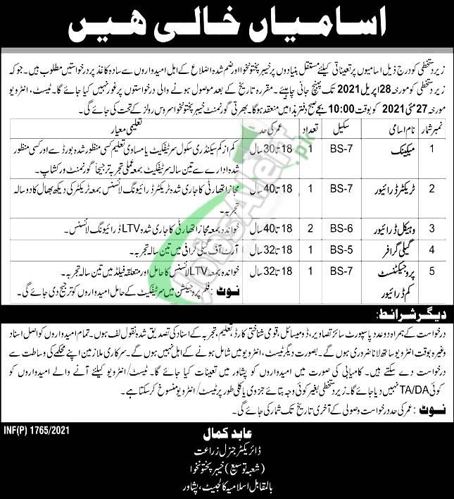 Agriculture Department Peshawar Jobs
