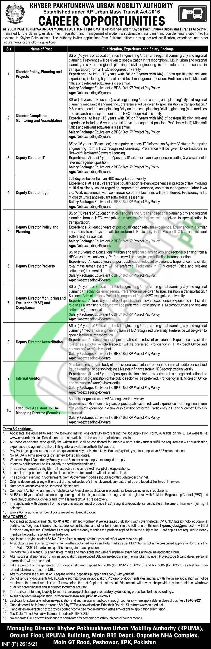 Khyber Pakhtunkhwa Urban Mobility Authority Jobs