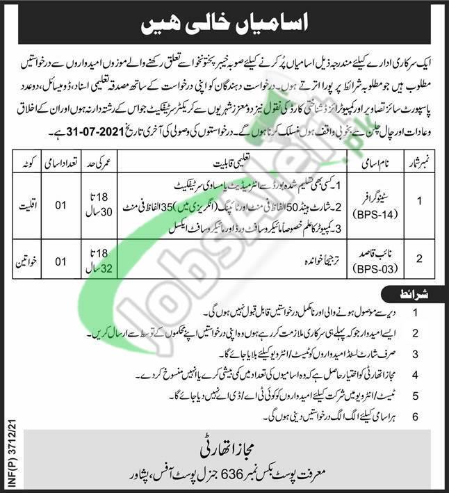 PO Box 636 GPO Peshawar Jobs