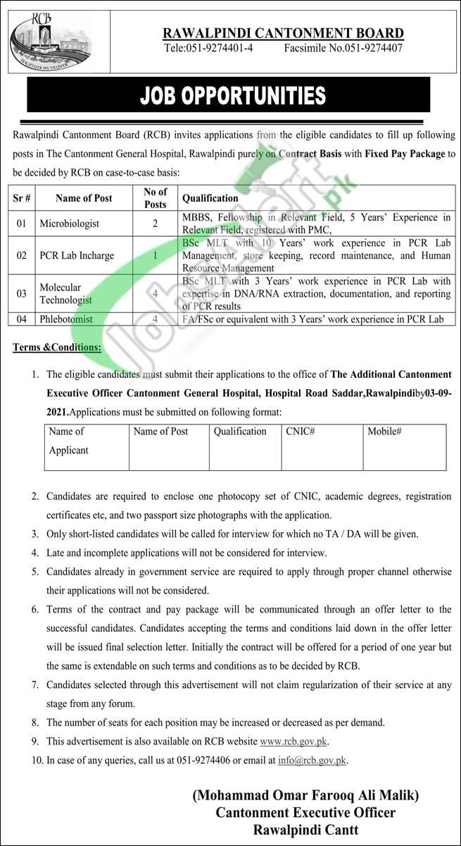 Cantonment General Hospital Rawalpindi Jobs