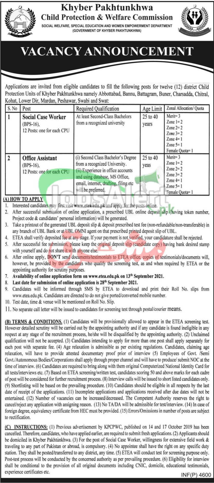 Child Protection and Welfare Commission KPK Jobs