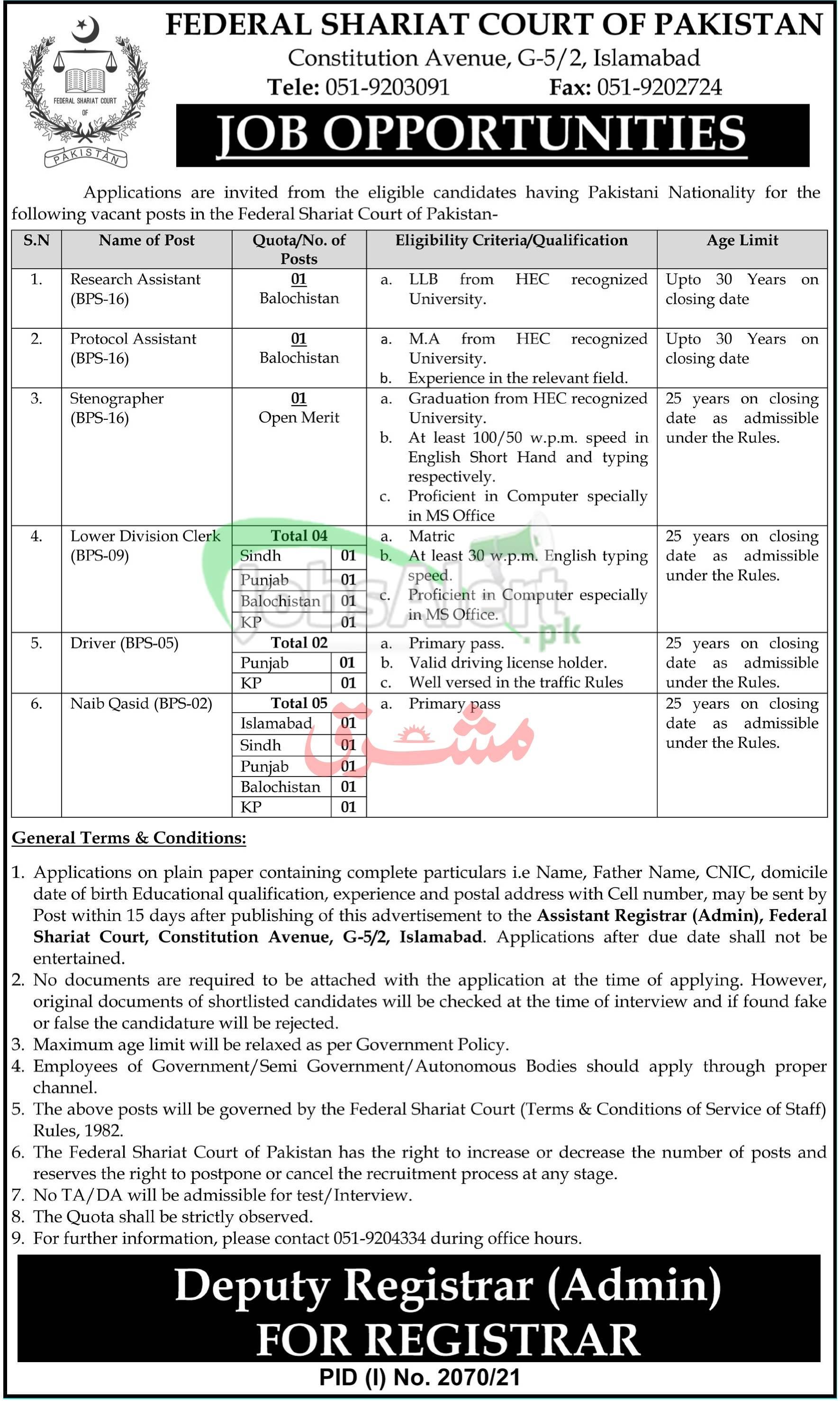 Federal Shariat Court of Pakistan Jobs