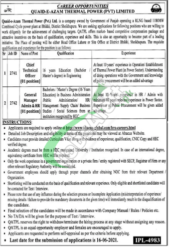 Quaid e Azam Thermal Power Lahore Jobs