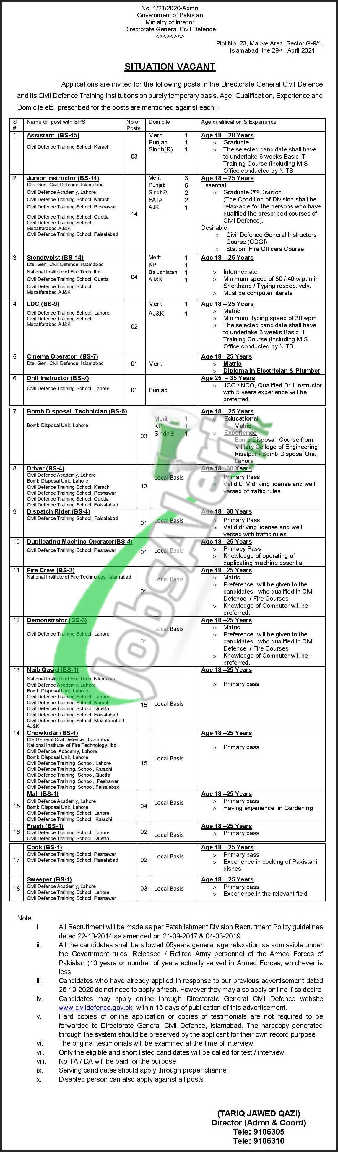 Civil Defence Pakistan Jobs