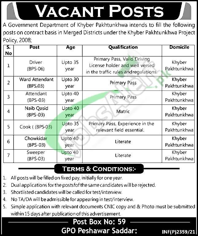 PO Box 59 Peshawar Jobs