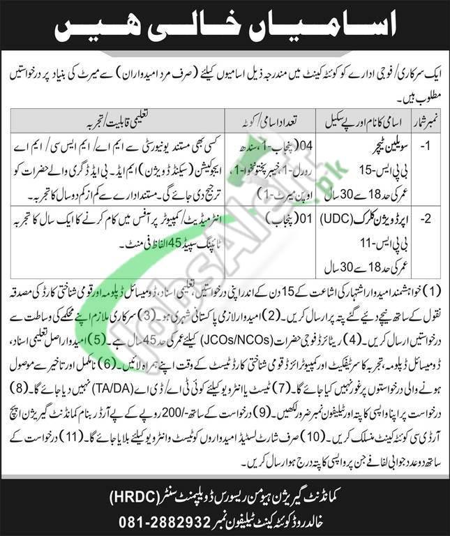 Garrison HRDC Quetta Cantt Jobs